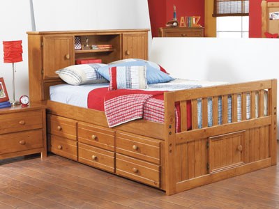 Creekside Twin Bookcase Headboard Captains Bed w/Trundle