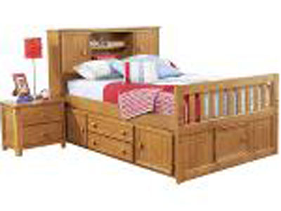 Creekside Full Bookcase Headboard Captains Bed