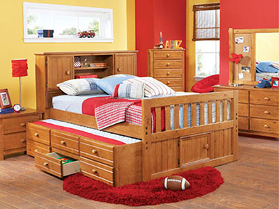 Creekside Full Bookcase Headboard Captains Bed w/Trundle